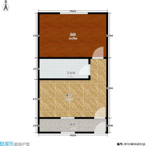 中兴公寓1室1厅1卫1厨42.00㎡户型图