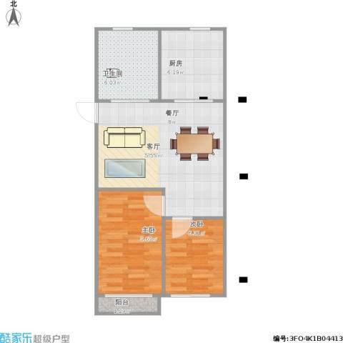 龙海-新加坡花园城2室1厅1卫1厨65.00㎡户型图