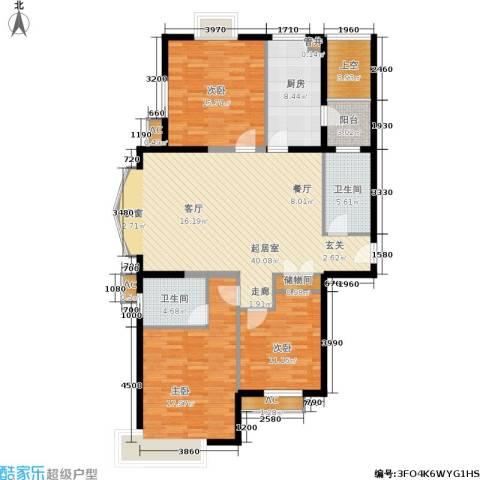 虹口现代公寓3室0厅2卫1厨128.00㎡户型图
