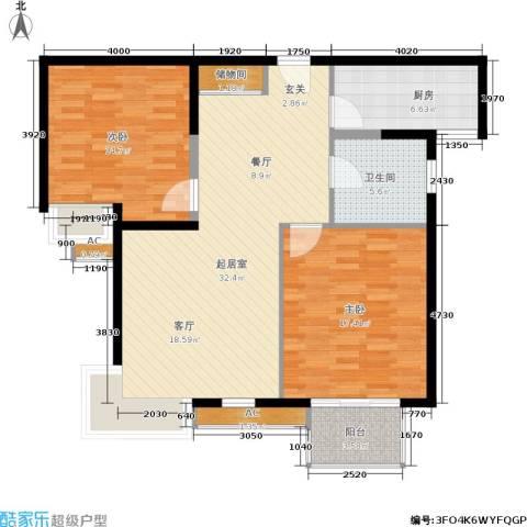 虹口现代公寓2室0厅1卫1厨94.00㎡户型图