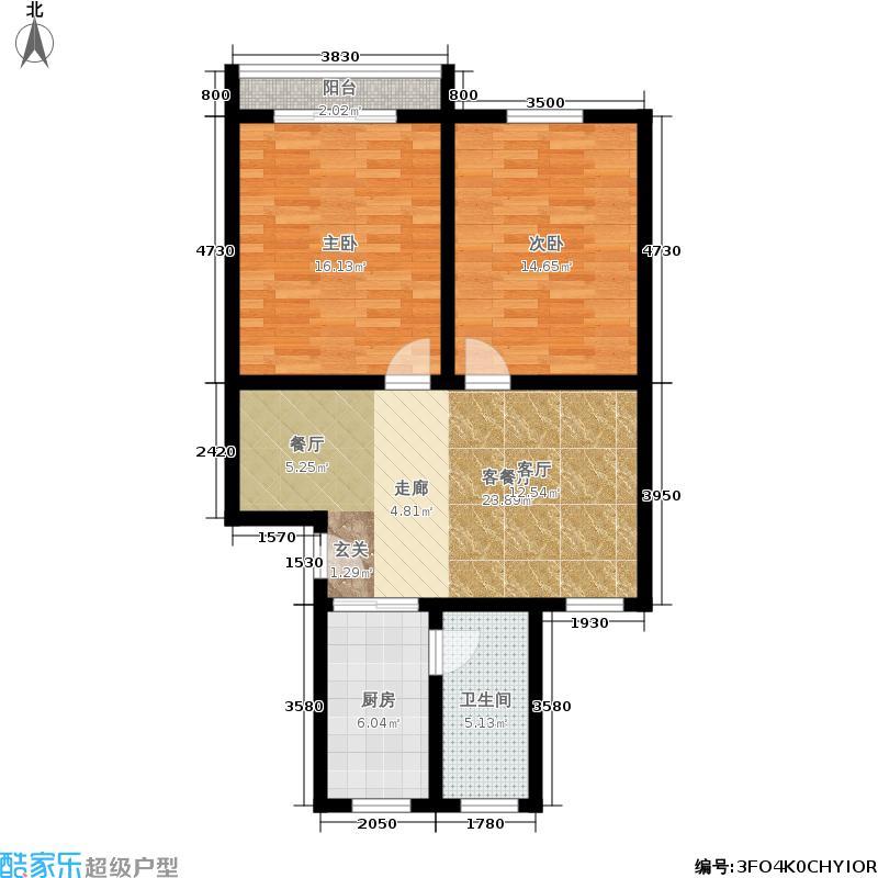 中庆紫荆家园78.00㎡面积7800m户型