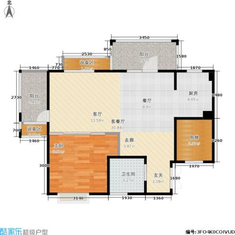橡树园1室1厅1卫0厨64.00㎡户型图