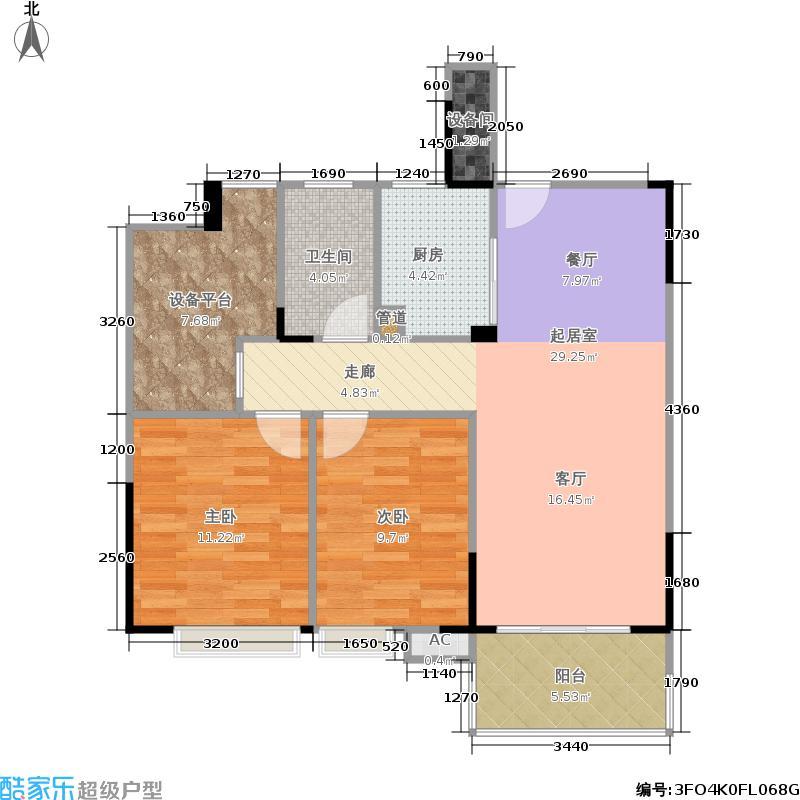 富春硅谷麓园86.00㎡高层住宅平面-中间套02--2户型