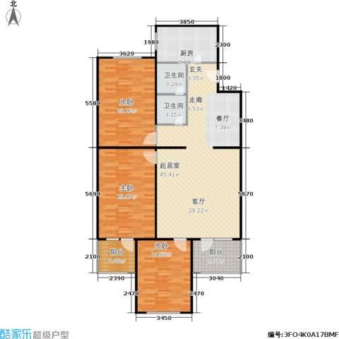 长椿苑3室0厅2卫1厨133.00㎡户型图