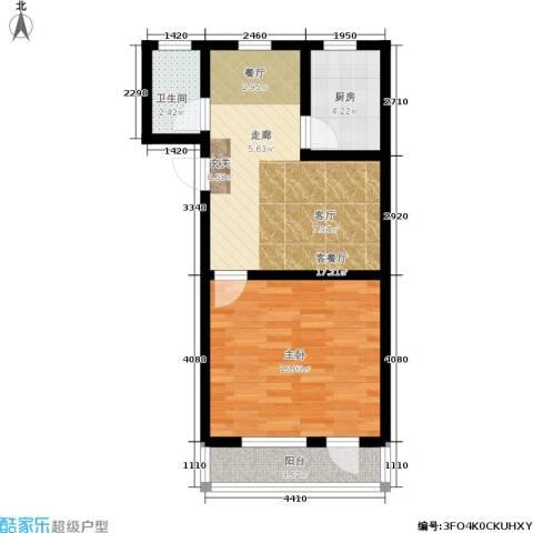 紫金观巷1室1厅1卫1厨51.00㎡户型图