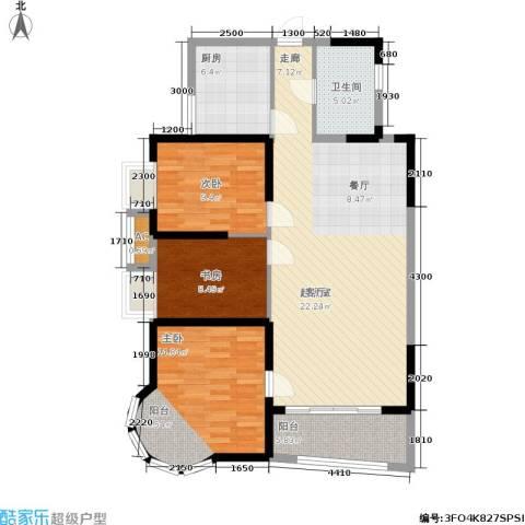 明发滨江新城3室0厅1卫1厨125.00㎡户型图