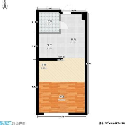 明发滨江新城1卫0厨46.00㎡户型图