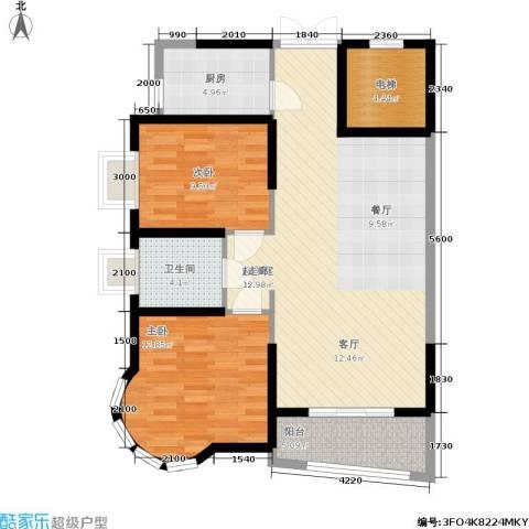 明发滨江新城2室0厅1卫1厨108.00㎡户型图