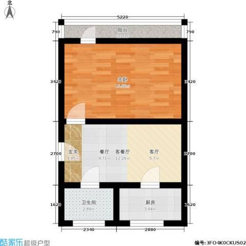 紫金观巷1室1厅1卫1厨45.00㎡户型图