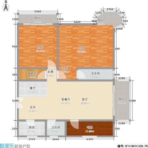 西湖花园3室1厅2卫1厨220.00㎡户型图
