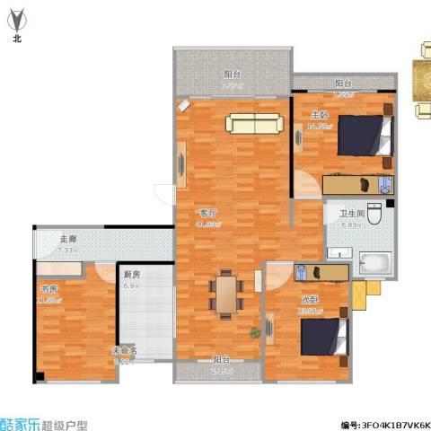 保利天鹅语3室1厅1卫1厨154.00㎡户型图