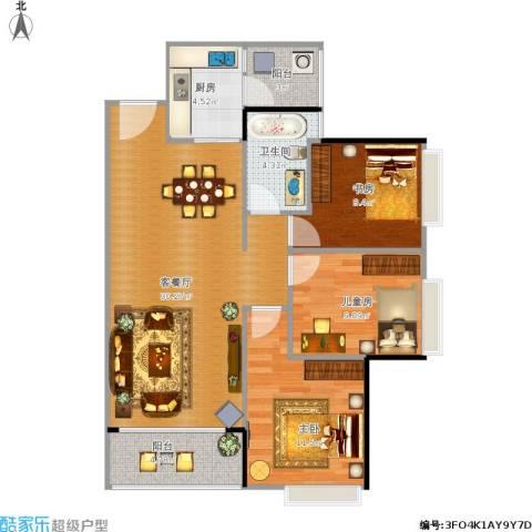 滨海花园3室1厅1卫1厨103.00㎡户型图
