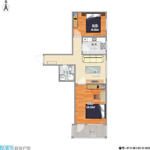 太极小区2室1厅1卫1厨84.00㎡户型图