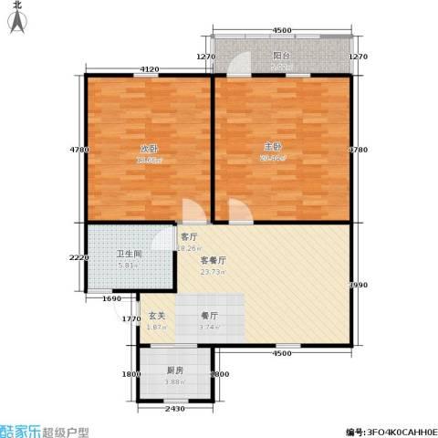 良渚花苑新村2室1厅1卫1厨82.00㎡户型图