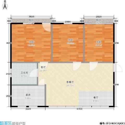 良渚花苑新村3室1厅1卫1厨78.00㎡户型图