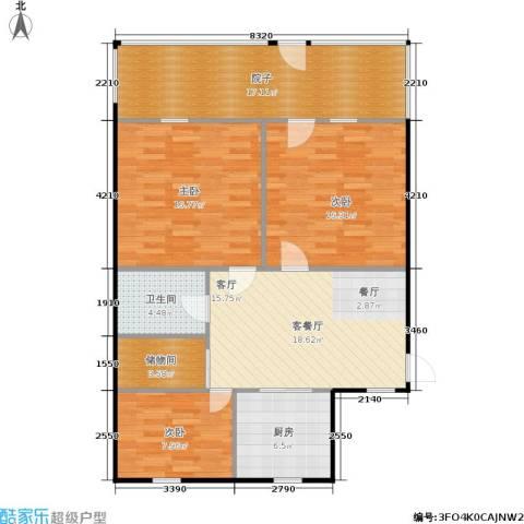 良渚花苑新村3室1厅1卫1厨98.00㎡户型图