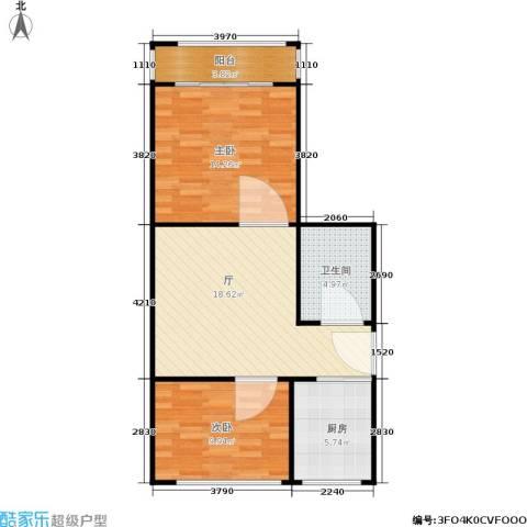 横河新村2室0厅1卫1厨62.00㎡户型图
