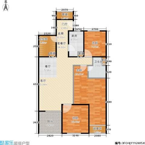 金地自在城3室1厅2卫1厨104.00㎡户型图