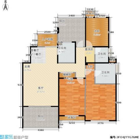 金地自在城3室1厅3卫0厨126.00㎡户型图