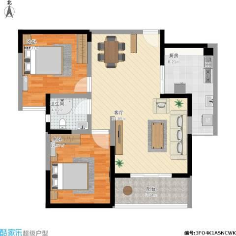时代庐山2室1厅1卫1厨105.00㎡户型图