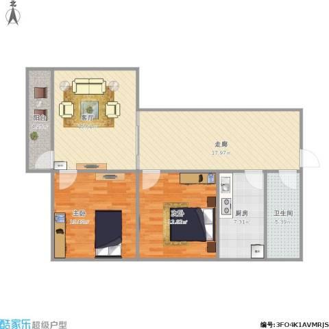 化纤厂宿舍2室1厅1卫1厨103.00㎡户型图
