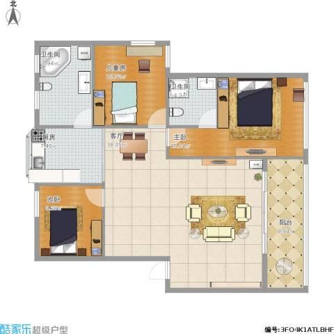吉祥北园3室1厅2卫1厨138.00㎡户型图