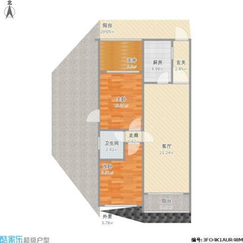 山海湾温泉家园2室1厅1卫1厨83.00㎡户型图