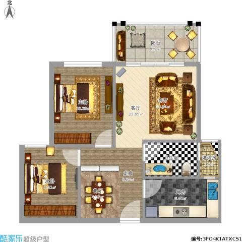时代尊品2室1厅1卫1厨85.00㎡户型图