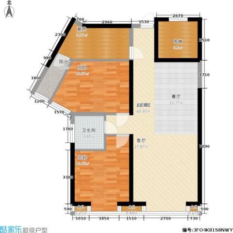 明发滨江新城2室0厅1卫1厨107.00㎡户型图