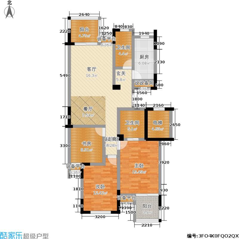 九月庭院130.66㎡5、6、7幢标准层面积13066m户型