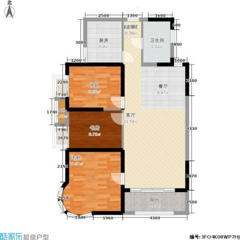 明发滨江新城3室0厅1卫1厨124.00㎡户型图