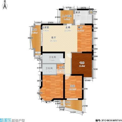 明发滨江新城3室0厅2卫1厨151.00㎡户型图