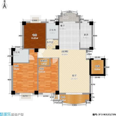 明发滨江新城3室0厅2卫1厨130.00㎡户型图