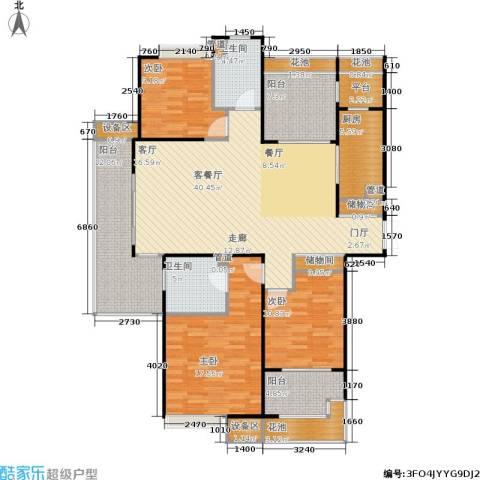 金地自在城3室1厅2卫1厨142.00㎡户型图