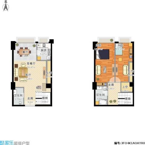 红星国际广场2室1厅2卫1厨140.00㎡户型图