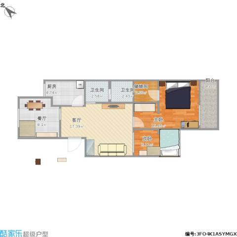 西三环北路86号院2室2厅2卫1厨85.00㎡户型图