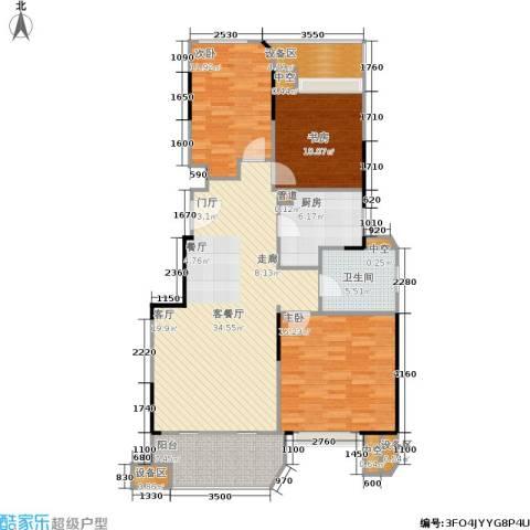 金地自在城3室1厅1卫1厨100.00㎡户型图