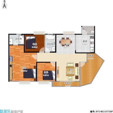 金沙湾3室1厅2卫1厨145.00㎡户型图