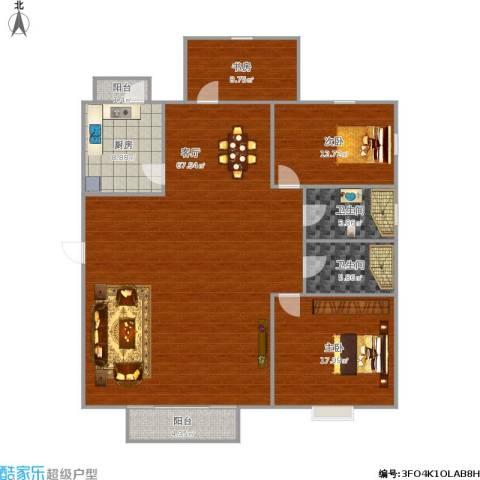 和泰玫瑰园3室1厅2卫1厨176.00㎡户型图