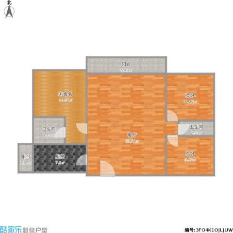 香晖晴园2室1厅2卫1厨136.00㎡户型图