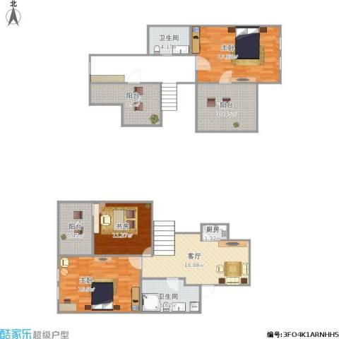 绿江太湖城金色水岸3室1厅2卫1厨135.00㎡户型图