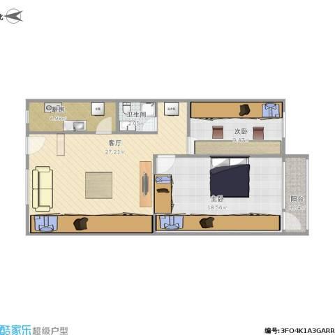 南三环中路小区2室1厅1卫1厨88.00㎡户型图