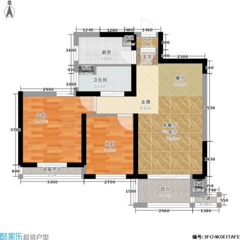 绿地香树花城2室1厅1卫1厨77.00㎡户型图