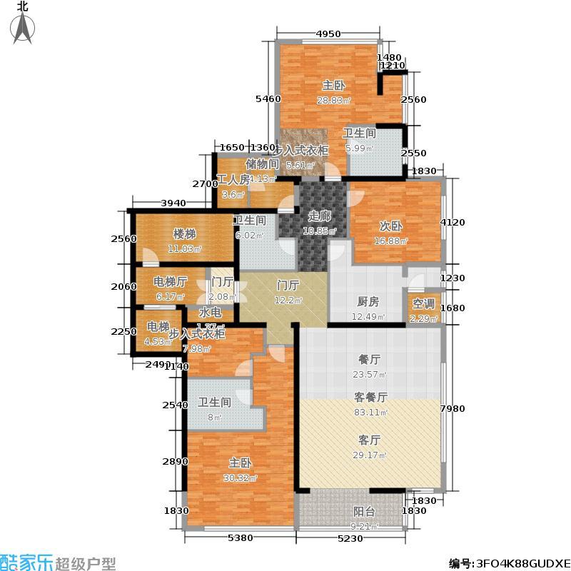融泽府285.96㎡G座D户型-三室二厅三卫一仆-3-13层户型