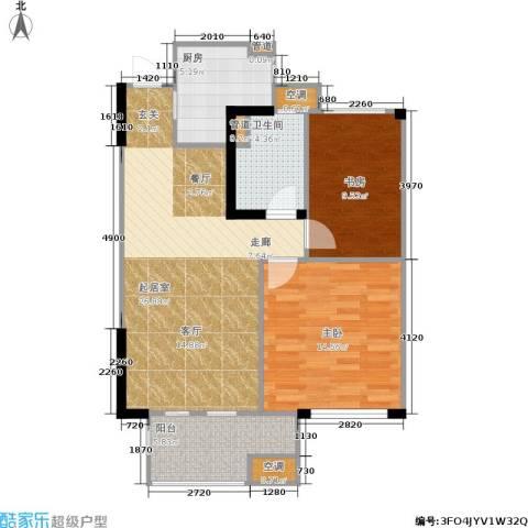 金地自在城2室0厅1卫1厨75.00㎡户型图