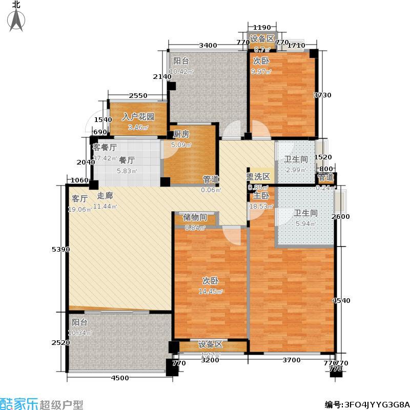 金地自在城136.00㎡三期拾院5#楼标准层C1-4户型