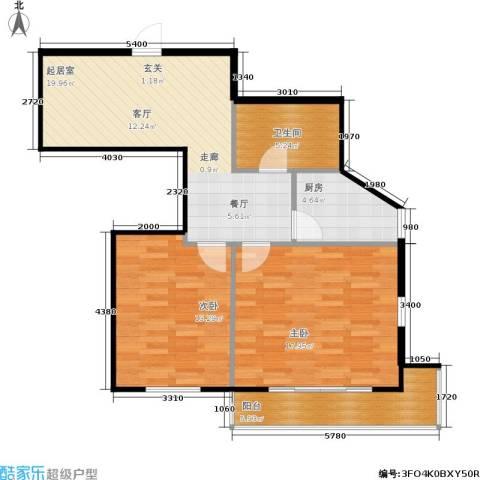 东园大楼2室0厅1卫1厨73.00㎡户型图