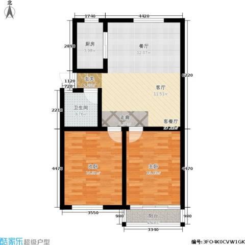 闸弄口东村2室1厅1卫1厨74.00㎡户型图