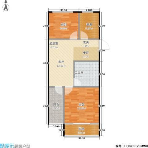 裕园公寓2室0厅1卫1厨65.00㎡户型图
