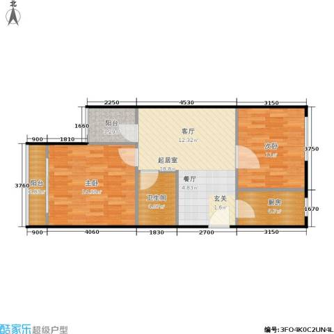裕园公寓2室0厅1卫1厨64.00㎡户型图